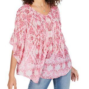 Style & Co Flutter Sleeve Pink Sheer Retro Top